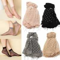 10Pairs Women Girls Transparent Polka Dot Socks Lace Ultra Thin Fiber Sheer Ankle Hosiery