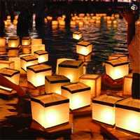 Water Floating Candle Holder Waterproof Square Candle Holder Lantern Wishing Light Candle Stick