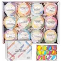70g*12PCS Bath Salt B-ombs Balls Whitening Moisture Essential Oil Body Scrub Bath B-ombs Bath Shower Sponge
