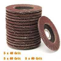 15pcs 115mm 40 60 80 Grit Sanding Flap Discs Grinding Wheels