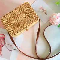 Luxury Handmade Retro Knitted Messenger Bag Straw Bag