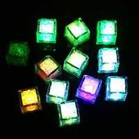 Colorful Liquid Sensor LED Glowing Ice Cube Night Light Drinking Wine Wedding Party Bar Decoration
