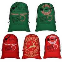 5Pcs Christmas Drawstring Bag Pack Gift Storage Bag Handbag Canvas Xmas Pouch 50x70cm