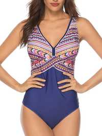 Women One Piece Backless Swimwear With Printed