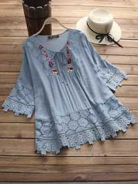 Women Hollow Lace Patchwork 3/4 Sleeve Blouse