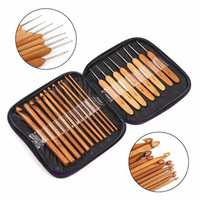 20pcs Bamboo Sewing Crochet Hooks Weave Knitting Needles