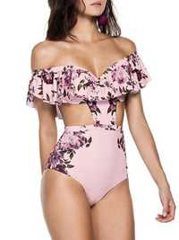 Off Shoulder High Waisted Print One Piece Swimsuit