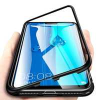 Bakeey 360° Magnetic Adsorption Metal Tempered Glass Flip Protective Case for Huawei Y9 2019
