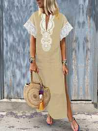 Women V-Neck Baggy Boho Split Hem Maxi Dress