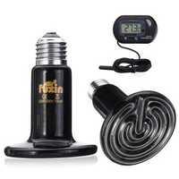 E27 50W 75W 100W 150W LED Ceramic Heat Emitter Lamp+Digital thermometer 220V