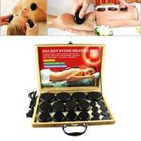 KCASA 20Pcs Natural Energy Hot Massage Stone Heater Box
