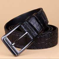 125CM Mens Crocodile Pattern Business Leather Belt Casual Pin Buckle Waistband Belt