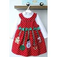 2Pcs Baby Kid Girl Santa Bowknot Outfit Set Long Sleeve Top Shirt And Dot Vest Dress