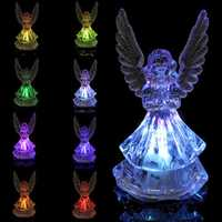 Changing Color Acrylic Color Icy Crystal Angel LED Light Lamp Home Decoration