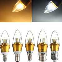 E27/E14/E12/B22/B15 3W LED Warm White/White 15SMD 2835 Golden Candle Light Bulb Lamp 85-265V
