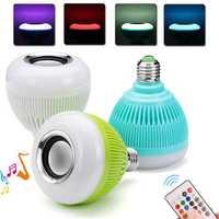 AC100-240V E27 Colorful Home bluetooth LED Music Globe Light Bulb + 24Keys IR Remote Control