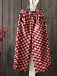 Vintage Loose Elastic Waist Plaid Harem Pants with Pockets