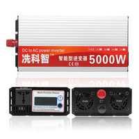 DC 12V/24V/48V To AC 220V 5000W Modified Sine Wave Intelligent Power Inverter Dual LCD Display Converter