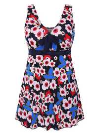 Backless Bowknot Flower Printing Breathable Swimdress