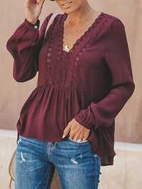 Women Casual Loose Pure Color V-Neck Lace Chiffon Blouse