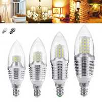E27 E12 5W 7W 9W 12W SMD 2835 Pure/Warm White Sliver LED Candle Light Bulb Chandelier Lamp AC85-265V