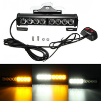 Yellow White Light 8 LED Car Wind Shield Suction Lamp Burst Strobe Flash Emergency Warning Light Bar