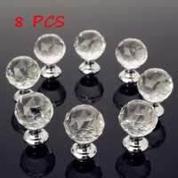 8Pcs 25MM Clear Crystal Glass Handle Knobs for Door Drawer Cabinet Furniture