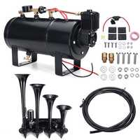 Truck Train 4 Trumpet 150db Air Horn 12V Compressor 4 Liters 180 PSI Pressure Gauge Tubing Kit