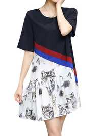 Plus Size Women Casual Dress Cat Printed Short Sleeve Patchwork Chiffon Dresses