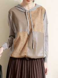 Long Sleeve Hooded PU Leather Splice Sweatshirt
