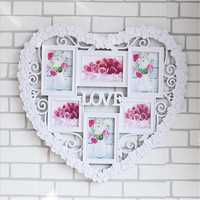 60x55cm Creative Photo Frame Wall Mount Collage Love 6 Pictures Heart Decor