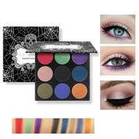 TZ COSMETIX 9 Colors Skull Eye Shadow Palette Halloween Matte Shimmer Diamond Foiled Makeup Cosplay