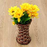 Artificial Rattan Square Flower Vase Storage Basket Garden Home Wedding Party Decoration Gift