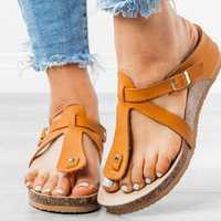 Large Size Women Buckle Flip Flops Casual Wedge Sandals