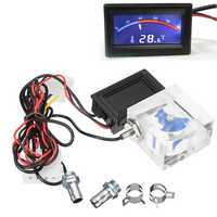 LED Thermometer 3 Way FlowMeter For Water Cooling Liquid Cooler System With 2 Barbs