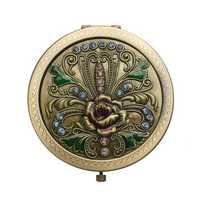 Makeup Mirror Retro Imitation Bronze Portable Small Double Faced Folding Pocket Mirrors