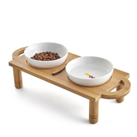 Ceramic Pet Bowl with Sturdy Bamboo Stand for Food and Water Bowls Pet Feeders Double Bowls Set