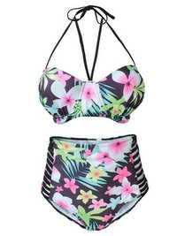 XL-4XL Women Sexy Printed Bikini High Waist High Elastic Swimwear