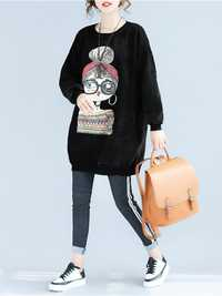 Plus Size Casual Women Girl Printed Thick Sweatshirts