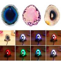 Natural Polished Agate Slice USB Lamp Night Light with Iron Stand