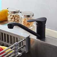 KCASA Copper Water Saver Filter Swivel Torneira Sink Mixer Laundry Tap Matte Black Kitchen Hot & Cold Faucet