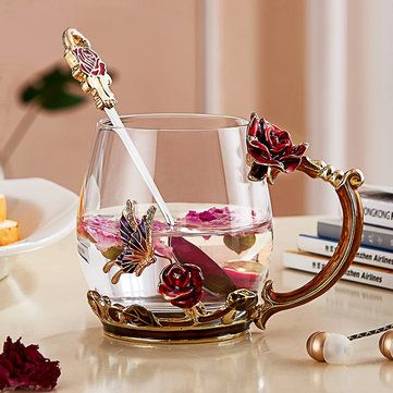 Enamel Glass Rose Flower Tea Cup Set Spoon Coffee Cup Cold Drinks Mug