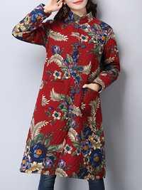 Plus Size Vintage Women Floral Printed Coat