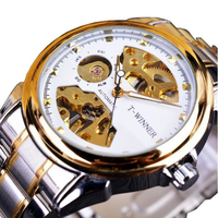 WINNER 378 Self-winding Mechanical Watch Classic Stainless Steel Strap Men Wrist Watch