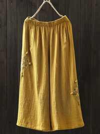 Women Vintage Embroidery Elastic Waist Wide Leg Pants