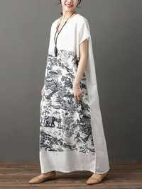 Plus Size Chinese Printed V-neck Batwing Sleeve Maxi Dress