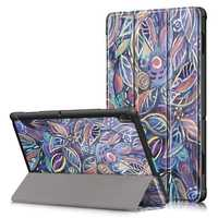 Tri-Fold Printing Tablet Case Cover for Lenovo Tab E10 Tablet - Tree leaves