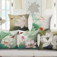 Honana WX-D1 45x45cm Vintage Lotus Flower Cotton Linen Throw Pillow Case Waist Cushion Cover