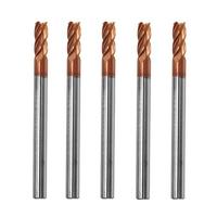 Drillpro 5pcs 4mm 4 Flutes Tungsten Carbide End Mill Cutter HRC55 AlTiN Coating End Mill Cutter