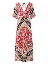 Bohemian Sexy Deep V-neck Backless High-Slit Floral Maxi Dress For Women